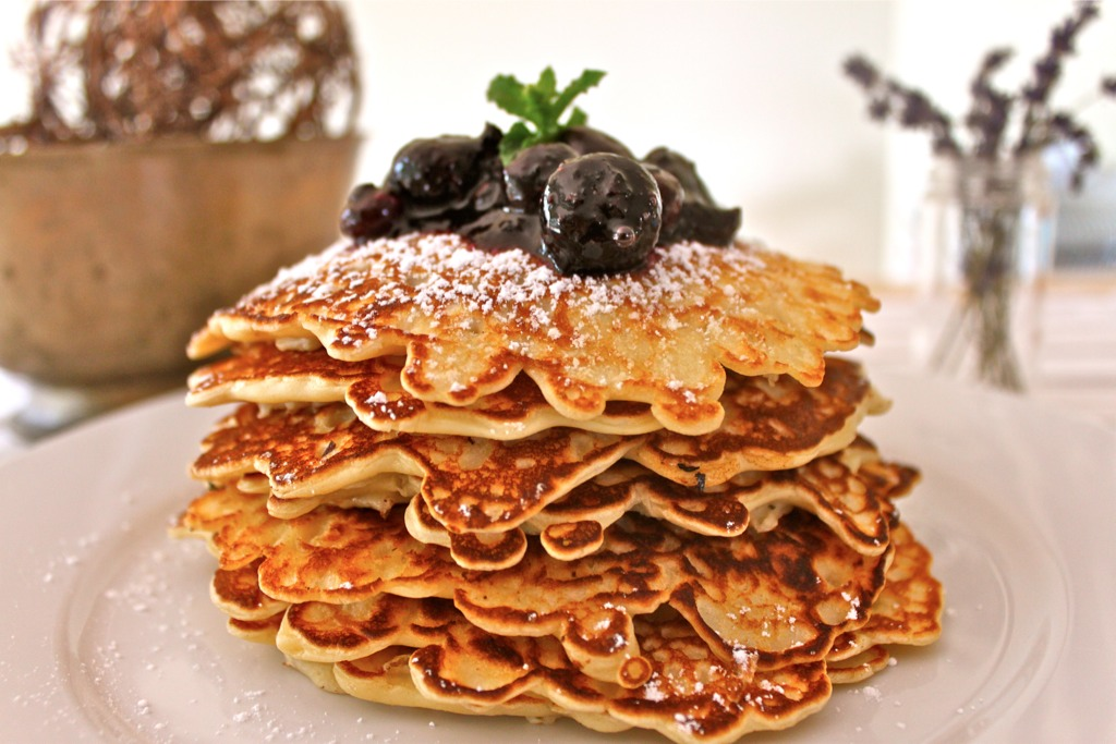 Oatmeal Pancakes with a Blueberry Compote - I Adore Food!