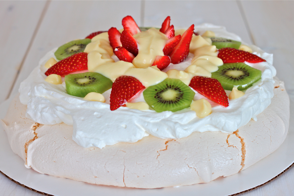 Pavlova Style Meringue Dessert with Vanilla Custard - I Adore Food!