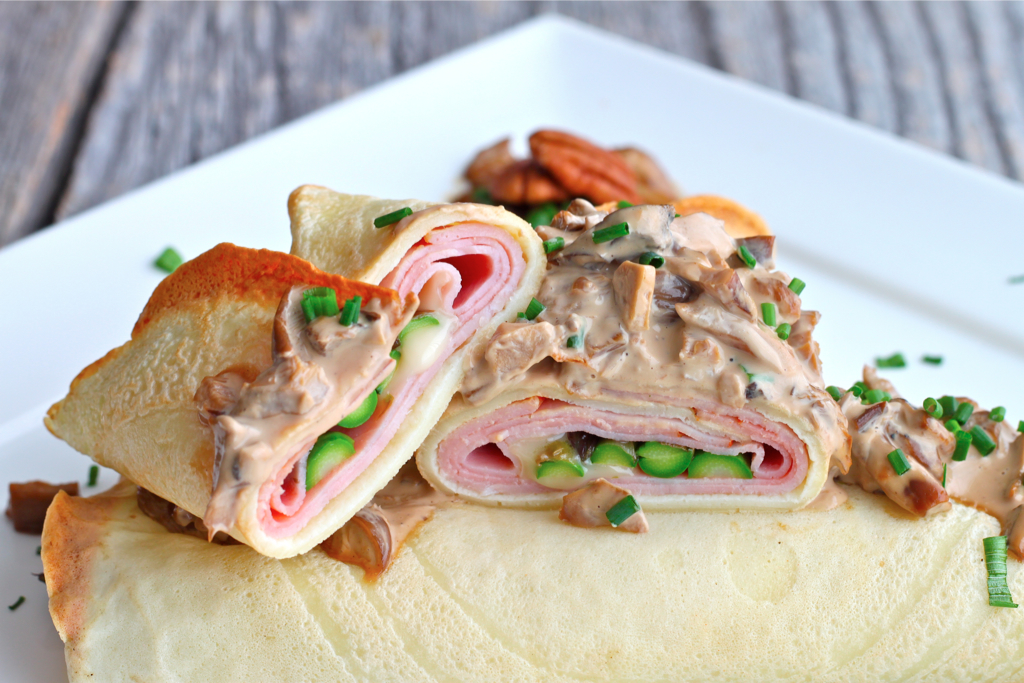 Savory Crepes stuffed with Brie, Ham and Asparagus - I Adore Food!