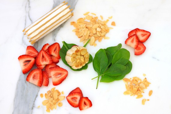 Spinach, Strawberries and Goat Cheese Salad