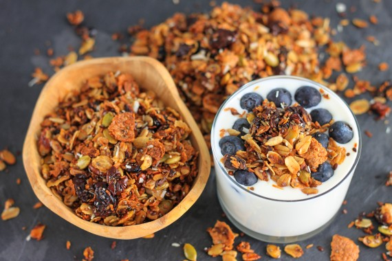 Healthy Chia, Coconut and Cherries Granola